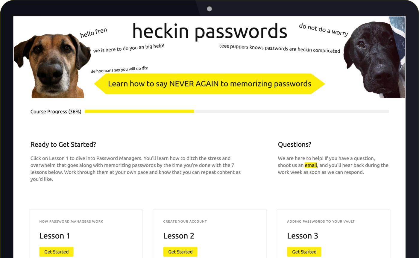 Screenshot heckin passwords dashboard